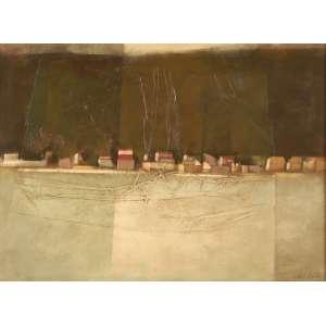 Carlos Scliar - Vista da Gamboa - Vinil e colagem encerados sobre tela - 55 x 75 - 1972 - Ass. Canto inferior direito e Verso