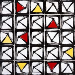 Amílcar de Castro - Composição - Cerâmica / Azulejo - 100 x 100 - 1990 - Ass. Canto inferior direito - Com certificado de autenticidade do Instituto Amílcar de Castro