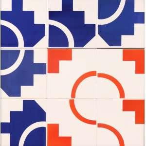 """Athos Bulcão - Azulejos """"Instituto Sarah"""" - Emoldurado em vidro - 45 x 45 - 1984 - Com marca no verso confeccionada pela IASA, da família Brennand."""