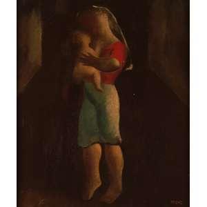 Orlando Teruz - Maternidade - Óleo sobre tela - 46 x 38 - Rio 1968 - Ass. Canto inferior direito e Verso
