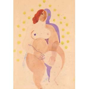 Ismael Nery - Nu Feminino - Aquarela - 23 x 16 - Circa de 1922 - Ass. Canto inferior direito Monograma