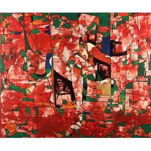 """Daniel Tavares - """"Sogni Ardenti Sul Rosso"""" Cogoleto Itália - Óleo sobre tela - 116 x 139 - 2006 - Ass. Canto inferior direito - Reproduzido no livro do artista Ed. Itália 2009"""