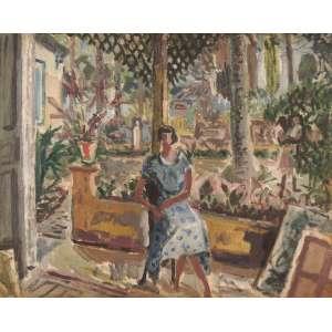Tadashi Kaminagai - O jardim do atelier do artista Rio - Óleo sobre tela - 65 x 80 - 1948 - Ass. Canto inferior direito - Rio 1948