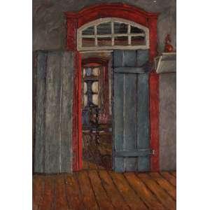 Ivan Marquetti - Porta com bandeira - Óleo sobre tela - 55 x 38 - Ouro Preto 23-4-1965 - Ass. Verso
