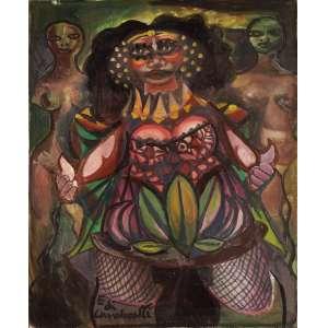 Emiliano Di Cavalcanti - Carnaval no bordel - Óleo sobre tela - 65 x 50 - 1972/1973 - Ass. Canto inferior esquerdo e Verso
