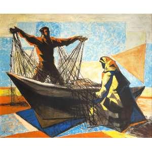 Enrico Bianco - Pescadores - Óleo sobre tela - 60 x 73 - 1949 - Ass. Canto inferior esquerdo