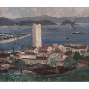 Manoel Santiago - Baia de Guanabara - Óleo sobre tela - 54 x 65 - Rio 1935 - Ass. Canto inferior direito
