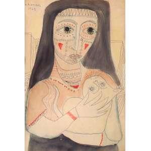 Chanina - Homenagem a Picasso - Técnica Mista - 33 x 24 - 1969 - Ass. Canto superior direito