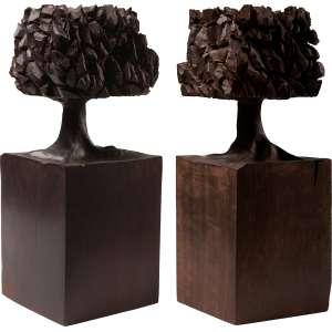José Bento - Árvores - Par de esculturas em madeira - 25 cm cada - Ass. na base