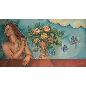 Yara Tupinambá - Figura feminina, borboletas e vaso de flores - Óleo sobre madeira - 1972 - Ass. Canto inferior direito - medindo 85 por 153 centímetros.