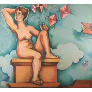 Yara Tupinambá - Nu feminino e pipas - Óleo sobre madeira - 155 x 170 - 1972 - Ass. Canto inferior direito