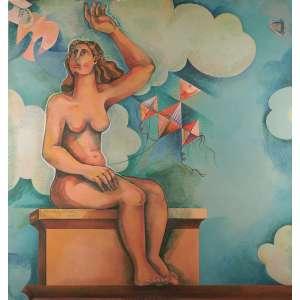 Yara Tupinambá - Nu com pássaros e pipas - Óleo sobre madeira - 170 x 160 - 1972 - Ass. Canto inferior direito