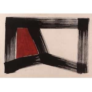 Amílcar de Castro - Preto e vermelho - Acrílica sobre cartão - 45 x 63 - 1985 - Ass. Canto inferior esquerdo