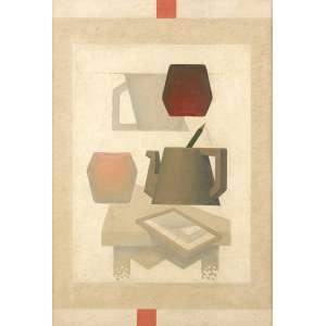 """José Maria Dias da Cruz - """"Espelho em desequilíbrio estável"""" - Óleo sobre tela - 55 x 38 - 1981 - Ass. Verso"""
