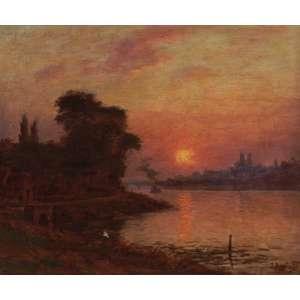 Baptista da Costa - Pôr do Sol Rio Sena Paris - Óleo sobre madeira - 40 x 45 - Circa 1893 - Ass. Canto inferior direito