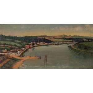 Joaquim Dutra - Rio Piracicaba - Óleo sobre tela - 35 x 65 - 1928 - Ass. Canto inferior esquerdo