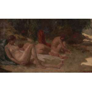 Pedro Bruno - As índias de Paquetá - Óleo sobre tela - 38 x 61 - Circa 1930 - Ass. Canto inferior direito