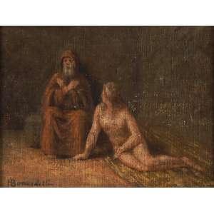Henrique Bernardelli - Cena bíblica - Óleo sobre madeira - 17 x 23 - Circa 1905 - Ass. Canto inferior esquerdo