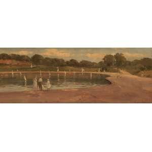 Eugênio Latour - Jardim de Luxemburgo - Óleo sobre tela - 33 x 84 - 1910 - Ass. Canto inferior Direito - No verso cachet da Galerie Bassenge - Berlim