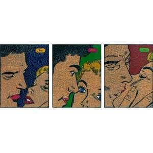 Jorge Fonseca - Amor I Love You Tríptico - Acrílica sobre renda e cetim bordado - 132,5 x 102 cada 132,5 x 306 total - 2010 - Ass. Verso