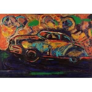 Rubens Gerchman - O Chevrolet azul – Cartagena – Colômbia - Óleo sobre tela - 70 x 100 - 1992 - Ass. Verso