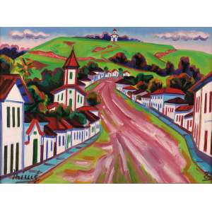Inimá de Paula - A pequena aldeia – Conceição do Mato Dentro – MG - Óleo sobre tela - 46 x 61 - 1987 - Ass. Canto inferior Esquerdo