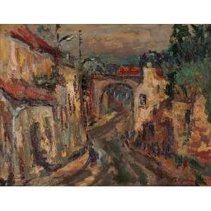 Tadashi Kaminagai - Subúrbios de Paris - Óleo sobre tela - 51 x 65 - Déc. 50 - Ass. Canto inferior direito