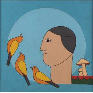 Antônio Maia - Chegada dos pássaros - Óleo sobre tela - 40 x 40 - 1992 - Ass. Verso
