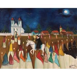 Zizi Sapateiro - Procissão do fogaréu - Óleo sobre tela - 50 x 40 - Mariana 1978 - Ass. Canto inferior direito e Verso