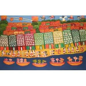 Antônio Poteiro - Sonhos tropicais - Óleo sobre tela - 90 x 140 - 2007 – Poteiro - 82 anos - Ass. Canto inferior direito e Verso