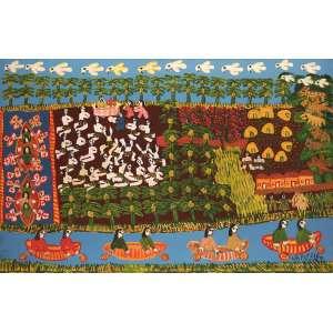 Antônio Poteiro - Navegantes indígenas - Óleo sobre tela - 90 x 140 - 2007 – Poteiro 82 anos - Ass. Canto inferior direito e Verso