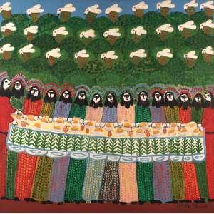 Antônio Poteiro - Santa ceia dos pássaros - Óleo sobre tela - 100 x 100 - 2001 - Ass. Canto inferior direito e Verso