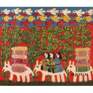 Antônio Poteiro - Retirantes do Pantanal - Óleo sobre tela - 60 x 70 - Ass. Canto inferior direito