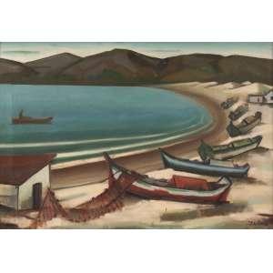 Inimá de Paula - Marinha com barcos – Meaipe - ES - Óleo sobre tela - 50 x 70 - Déc. 70 - Ass. Canto inferior direito - Com cachet no verso do Salão de Araraquara - SP