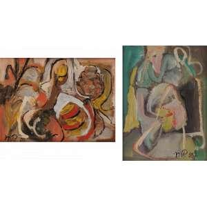 """Martins de Porangaba - Par de obras homenagem """"10 anos de BMF"""" - Acrílica sobre tela - 18 x 24 e 24 x 18 - 1995 - Com cachet d Galeria Sérgio Caribé - SP"""