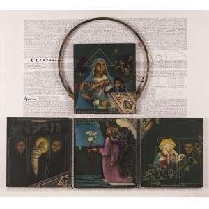 "Miguel Gontijo - Milagre sob a batina de Giotto"" - Políptico – Acrílica e técnica mista - 84 x 94 - jun/06 - Ass. canto inferior esquerdo - Reproduzido no livro do artista"
