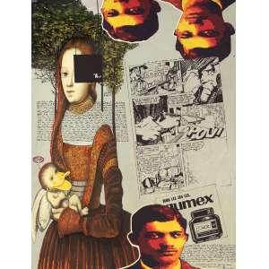 Miguel Gontijo - Composição - Acrílica e técnica mista sobre tela - 80 x 60 - Ass. Canto inferior direito