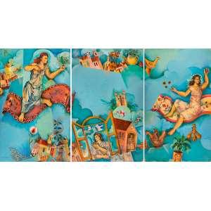 Yara Tupynambá - Sonha Minas - Óleo sobre madeira - 224 x 416 - 1979 - Ass. Canto inferior direito - Reproduzido no livro da artista em retrospectiva 2019