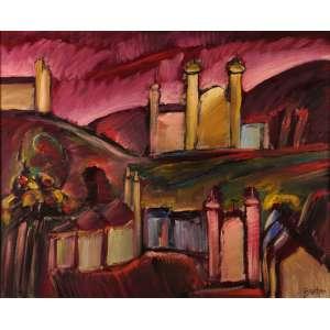 Carlos Bracher - Paisagem monumental de Ouro Preto - Óleo sobre tela - 110 x 135 - 2021 - Ass. Canto inferior direito