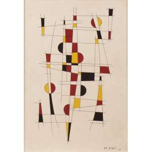 Mário Silésio - Composição construtiva - Guache s/ cartão - 43 x 32 - 1957 - Ass. Canto inferior direito