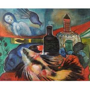 Chanina - Composição em sonhos - Óleo sobre tela - 65 x 80 - 1963 - Ass. Canto inferior esquerdo