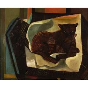 Emiliano Di Cavalcanti - O gato - Óleo sobre tela - 61 x 75 - 1955 - Ass. Canto inferior direito e verso - No verso três cachets da XXVIII Bienal de Veneza