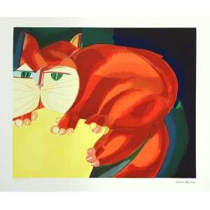 Aldemir Martins<br />Gato Vermelho - Serigrafia póstuma - 50x70 cm - 2010 - A.C.I.D (sem moldura)