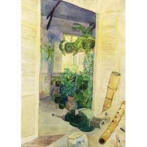 Amelia Toledo<br />Vista da janela - Aquarela sobre - 77x57 cm - 1980 - A.C.I.E (com certificado de autenticidade da artista)
