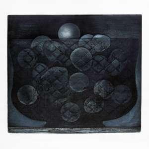 Mario Gruber<br />Fruteira azul - P.A. - Gravura em metal - 73x73 cm - 1975 - A.C.I.D (no estado)