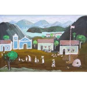 Fulvio Pennacchi<br />Morros com aldeia - Óleo sobre placa - 20X30 cm - 1983 - A.C.I.E