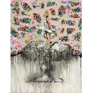 """Edney Antunes, A Vida é Bélica, Técnica mista sobre tela, medindo 130 x 100 cm, assinado e datado 2014, verso. A obra participou da exposição """"Projeto Paralelo 26, no Museu de Arte de Goiânia, de 06 de junho a 20 de julho 2014 e está reproduzida no Catálogo das exposição """"A vida é bélica"""", tendo sido a capa do catálogo e também na página 08, no Museu de Arte Contemporânea de Jataí, 2014 ."""