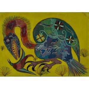 Chico da Silva, Sem título, Óleo sobre tela, medindo 50 x 70 cm, assinado,déc.70.