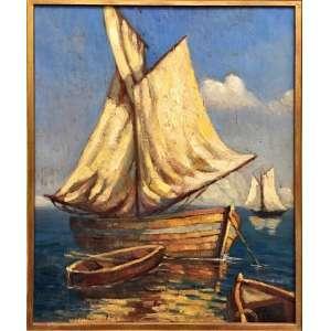 Edgar Walter, Marinha, Óleo sobre tela, medindo 45 x 36 cm, assinado e datado 1943, CIE.