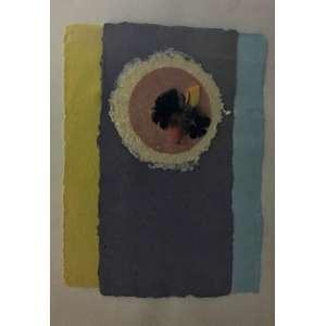 Bené Fonteles, Sem Título, Técnica mista,pigmentos naturais, papel artesanal e penas, 50 x 34,5 cm. Assinado.